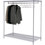 Nexel® Chrome Finish 2-Shelf Free Standing Clothes Rack, Unassembled