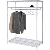 "Free Standing Clothes Rack - 3-Shelf - 48""W x 24""D x 74""H - Chrome"