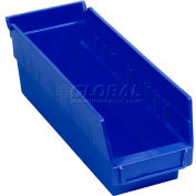 "Global Industrial™ Plastic Nesting Storage Shelf Bin 4-1/8""W x 11-5/8""D x 4""H Blue - Pkg Qty 24"