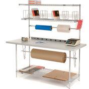 "Global Industrial™ Packing Workbench W/Riser & 3 Shelves, Laminate Square Edge, 72""W x 30""D"