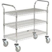 "Nexel® Utility Cart, 3 Shelf, Chrome, 36""L, x 18""W, x 39""H, Polyurethane Brake Casters"