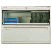 """Deluxe Retracting Front Lateral File Cabinet 42""""W X 28""""H - Putty"""