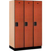 Salsbury Extra Wide Designer Wood Locker 21361  Single Tier 3 Wide 15x21x72 Cherry