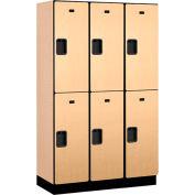 Salsbury Extra Wide Designer Wood Locker 22368 - Double Tier 3 Wide 15x18x36 Maple