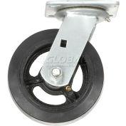 "Global Industrial™ Heavy Duty Swivel Plate Caster 6"" Mold-on Rubber Wheel 500 lb. Capacity"