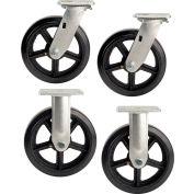 "Global Industrial™ 8"" x 2"" Mold-On Rubber Caster Kit 2 Swivel, 2 Rigid"