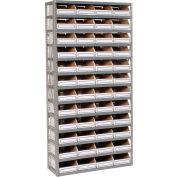 Global Industrial™ Steel Open Shelving with 48 Corrugated Shelf Bins 13 Shelves - 36x18x73