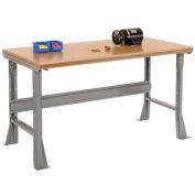 """60""""W x 30""""D x 34""""H Fixed Height Workbench C-Channel Flared Leg - Shop Top Safety Edge - Gray"""