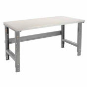 """60""""W X 30""""D Plastic Laminate Safety Edge Work Bench - Adjustable Height - 1-5/8"""" Top - Gray"""