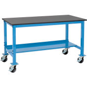"""Global Industrial™ Mobile Lab Workbench w/ Phenolic Resin Safety Edge Top, 72""""W x 36""""D, Blue"""