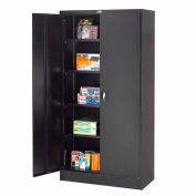 """Global Industrial™ Steel Storage Cabinet Recessed Handle 36""""W x 18""""D x 72""""H Black Easy Assembly"""