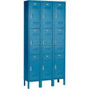 Paramount® Locker 3 Tier 12 X 15 X 24 9 porte prêt à assembler bleu