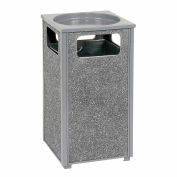 "Global Industrial™ Stone Panel Trash Sand Urn, Gray 12 Gallon, 13-1/2"" Square X 32""H"