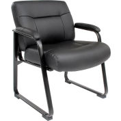 Interion® Big and Tall Waiting Room Chair - Leather - High Back - Black
