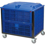 Global Industrial™ Easy Assembly Solid Wall Container-Drop Gate/Lid/Casters 39-1/4x31-1/2x34 OH