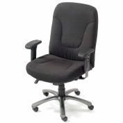 Interion® Big and Tall Office Chair with Arms - Fabric - High Back - Black