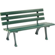 Global Industrial™ Plastic Park Bench With Backrest, 4'L, Green