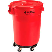 Global Industrial™ Plastic Trash Can avec Couvercle & Dolly - 32 Gallon Rouge