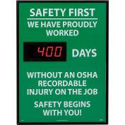 Signe de tableau de bord numérique sécurité - sécurité d'abord, nous avons fièrement, OSHA