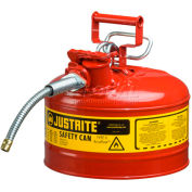 """Justrite® Type II Safety Can - 2-1/2 Gallon with 5/8"""" Hose, 7225120"""