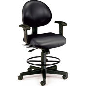 OFM 24 Hour Ergonomic Task Chair with Arms and Drafting Kit, Mid Back, in Black (241-VAM-AADK-66)