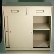 "Fenco Teller Pedestal Cabinet S-251-A - 4 Drawers Sliding Doors 37""W x 19""D x 38-1/2""H Champagne"