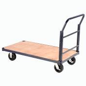 "Global Industrial™ Steel Bound Wood Deck Platform Truck 48x24 2400 Lb. Cap. 8"" Rubber Casters"