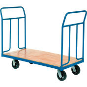 "Global Industrial™ Wood Deck Platform Truck 6"" Mold-On Rubber Wheels 2400 Lb. Capacity"