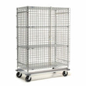 """Dolly Base Security Truck, Chrome, 18""""W x 36""""L x 70""""H, Rubber, 2 Swivel, 2 Rigid Casters"""