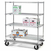 Nexel® E-Z Adjust Wire Shelf Truck with Dolly Base 60x18x61 1600 Lb. Cap.