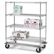 Nexel® E-Z Adjust Wire Shelf Truck with Dolly Base 60x24x70 1600 Lb. Cap.
