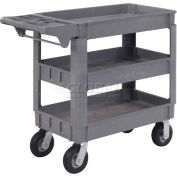 """Global Industrial™ Small Deluxe 3 Shelf Plastic Utility & Service Cart 6"""" Pneumatic Casters"""