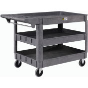 """Global Industrial™ Large Deluxe 3 Shelf Plastic Utility & Service Cart 5"""" Rubber Casters"""