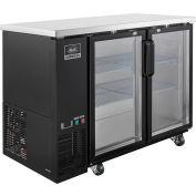 Nexel® Back Bar Cooler, 2 Glass Doors, 13 Cu. Ft., Black