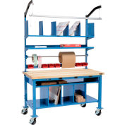 """Global Industrial™ Complete Mobile Packing Workbench W/Power, Maple Square Edge, 60""""W x 36""""D"""