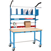 Mobile Electric Packing Workbench Maple Butcher Block Square Edge - 72 x 30 with Riser Kit