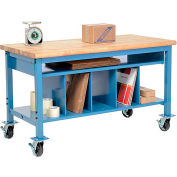 Mobile Packing Workbench Maple Butcher Block Safety Edge - 72 x 30 with Lower Shelf Kit