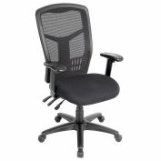 """Interion® Mesh Office Chair With 23-1/2""""H Back & Adjustable Arms, Fabric, Black"""