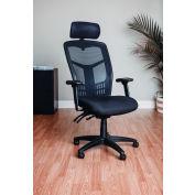 Chaise de travail Interion® Mesh avec headrest - Tissu - Haut-dos - Noir