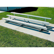 3 Row National Rep Tip N Roll Aluminum Bleacher, 9'W, Single Footboard