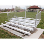 5 Row National Rep Aluminum Bleacher with Guardrails, 15' Long, Single Footboard