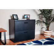 """Interion® 30"""" Lateral File Cabinet 2 Drawer Charcoal"""