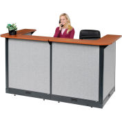 """Interion® U-Shaped Electric Reception Station, 88""""W x 44""""D x 46""""H, Cherry Counter, Gray Panel"""