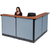 """Interion® L-Shaped Electric Reception Station, 80""""W x 80""""D x 46""""H, Cherry Counter, Blue Panel"""