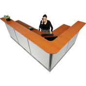 """Interion® L-Shaped Electric Reception Station, 116""""W x 80""""D x 46""""H, Cherry Counter Gray Panel"""