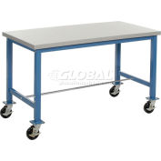 "72""W x 30""D Mobile Packing Workbench - Plastic Laminate Safety Edge - Blue"