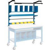 Global Industrial™ Riser Kit w / Dividers Shelves &LED Light Kit, 60 «W, Bleu