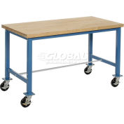 Global Industrial™ 60 x 30 Mobile Packing Workbench - Maple Butcher Block Square Edge - Blue