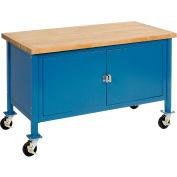 "Global Industrial™ Atelier d'armoire mobile - Maple Safety Edge, 72""W x 30""D, Bleu"