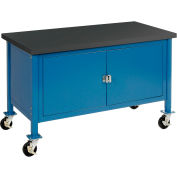 Global Industrial™ 60 x 30 Mobile Workbench - Security Cabinet, Phenolic Resin Safety Edge Blue